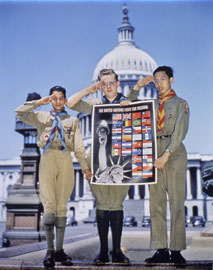 Photo of three boy scouts holding a poster, with Capitol Building in background.