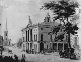 Drawing of Federal Hall, with horse and carriage in front.