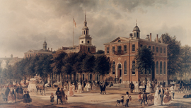 Painting of Congress Hall, Independence Hall, and a bustling city street.