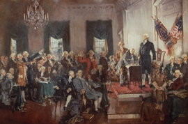 Painting of the signing of the Constitution at the Constitutional Convention, with known figures such as George Washington and Benjamin Franklin.
