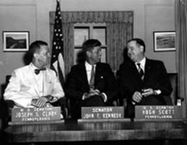 Photo of Joseph Clark, John Kennedy, and Hugh Scott