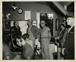 Senators on Combat Tour Inspect Radion Station, 1943.