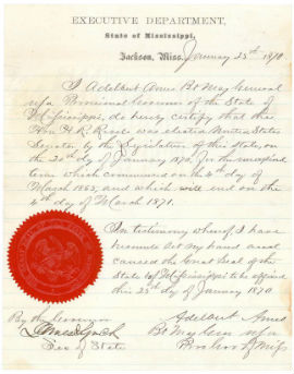Image of Hiram Revels Certificate of Election