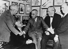 Senator Harry S. Truman and Senators Homer Ferguson, Harold Burton, Thomas Connally, and Ralph Brewster.