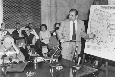 Joseph Welch reacts to Senator Joseph McCarthy