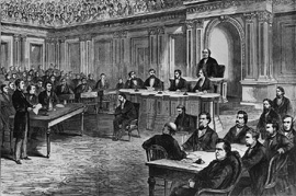 Drawing of the impeachment trial of President Andrew Johnson held in the Senate Chamber.