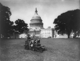 Mowing the Capitol lawn