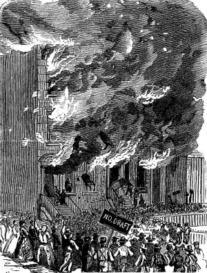 Engraving of New York City's draft riots in 1863