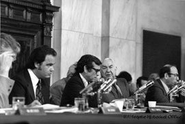 Image: Minority Counsel Fred Thompson, Senator Howard Baker, Senator Sam Ervin, and Majority Counsel Sam Dash