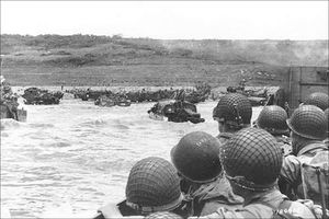 Soldiers in landing craft near Normandy Beach, June 6, 1944.