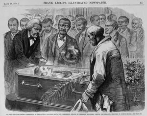The Late Senator Sumner. Ceremonies in the Capitol. Colored People of Washington, Headed by Frederick Douglass, Viewing the Remains. Sketched by Joseph Becker, 1874