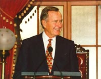 Former President George Bush speaks in the Old Senate Chamber.