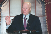 Former President Gerald Ford speaks in the Old Senate Chamber.