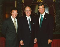 Senators Tom Daschle and Trent Lott welcome George Mitchell.