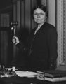 Image of Hattie W. Caraway with gavel as the Senate's acting president pro tempore.