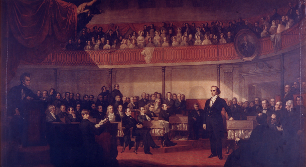 Painting of Senator Daniel Webster addressing the Senate in a crowded Senate Chamber.