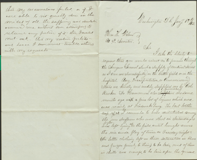 Page one of Clara Barton's Letter to Senator Henry Wilson, Jan 18, 1863