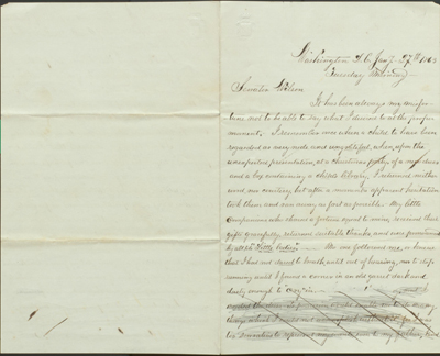 Page one of Clara Barton's Letter to Senator Henry Wilson, Jan 27, 1863