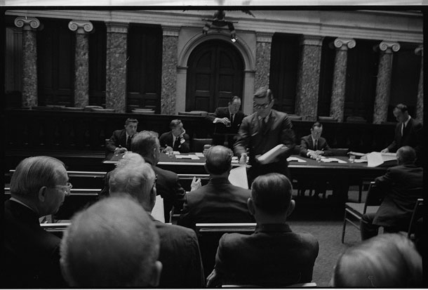 Photo: Humphrey in Caucus in Old Chamber