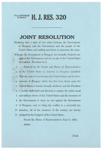 H.J.Res.320 Declaration of War with Hungary, WWII