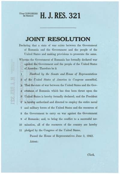H.J.Res. 321 Declaration of War with Rumania, WWII