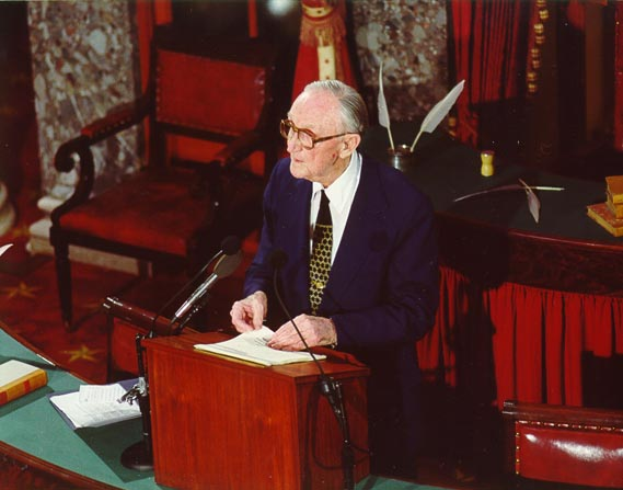 Former Majority Leader Mike Mansfield Speaks in the Old Senate Chamber