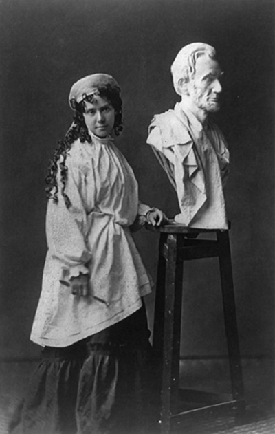Vinnie Ream with Lincoln Bust