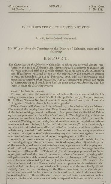 Senate Report on the Kate Brown Incident, 1868