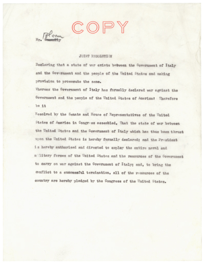 S.J.Res. 120: Declaration of War with Italy, WWII