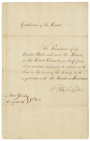 Message of President George Washington Requesting that the Senate Meet to Advise Him on the Terms of the Treaty to Be Negotiated with the Southern Indians, 08/21/1789