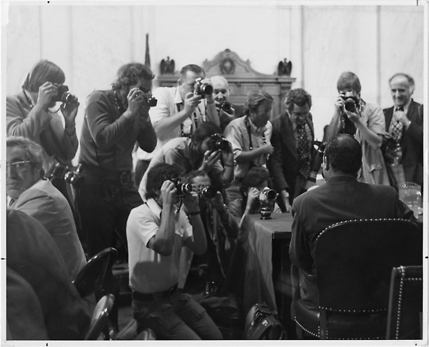 Photographers at a Watergate committee hearing