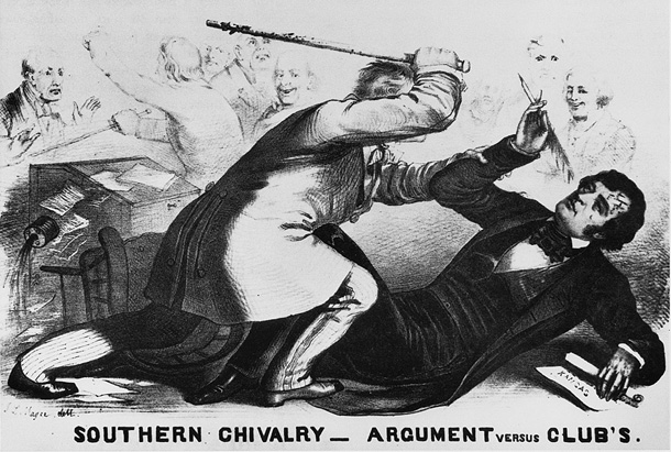 A cartoon of Representative Brooks raising his cane above a prostrate Senator Charles Sumner.