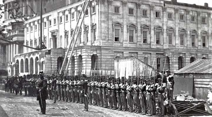 Civil War troops in front of the Capitol