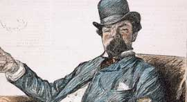 Graphic image of 19th c. man seated