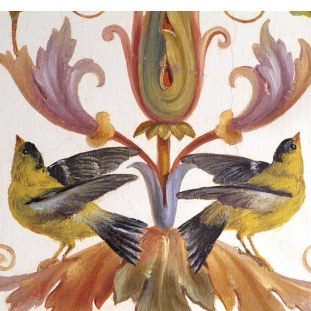 A painting of two yellow birds by Constantino Brumidi