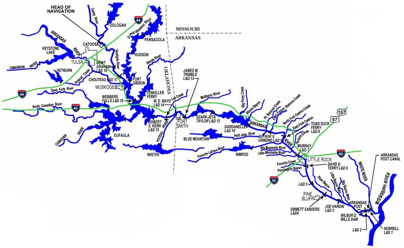States In The Senate OK - Oklahoma rivers map
