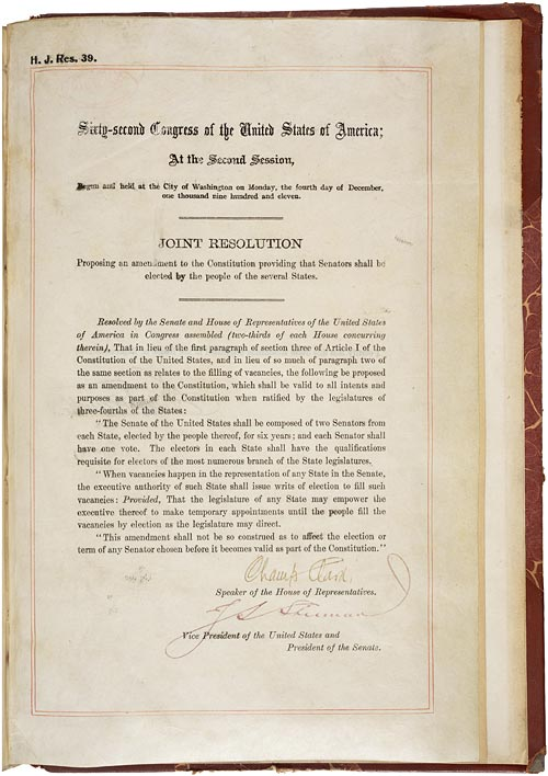 Seventeenth Amendment to the U.S. Constitution